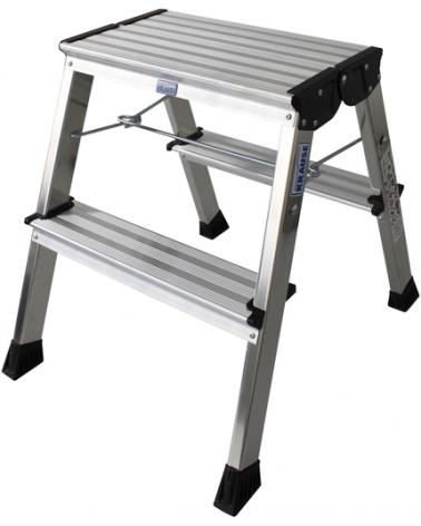 Aluminium Doppel-Klapptritt Klappbar Arbeitshöhe (Max.): 2.45 M Krause Silber 1.7 Kg